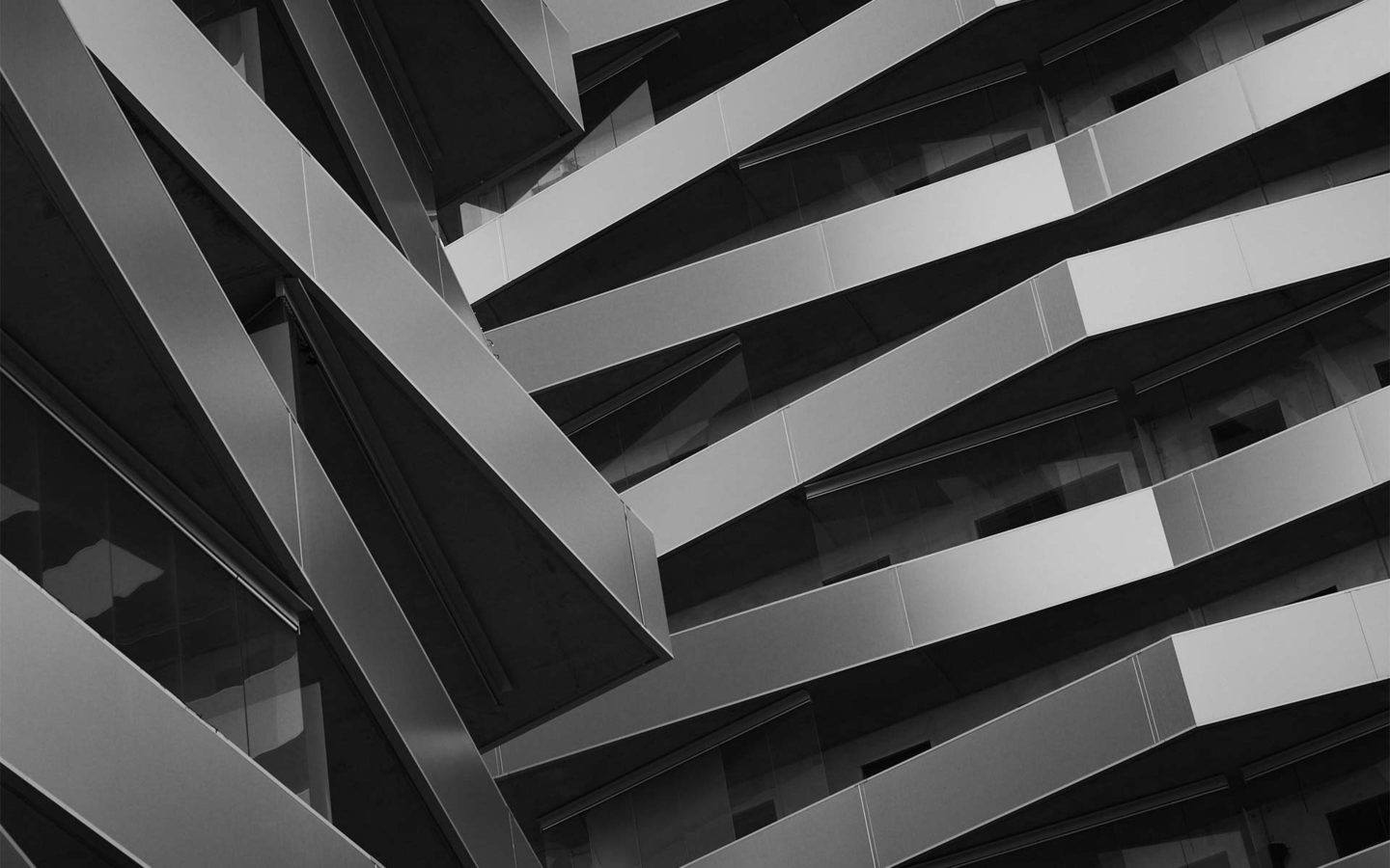 abstract image of many stacked and angled balconies